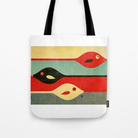 fish Tote Bags featuring Three Fish in My Mind by Fernando Vieira