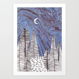 Night forest Art Print
