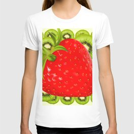 GREEN KIWI & RED STRAWBERRY ART T-shirt