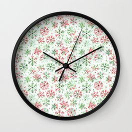 Red Green Snowflakes Wall Clock
