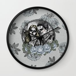 Day Of The Dead , Silver Rose Skulls Wall Clock