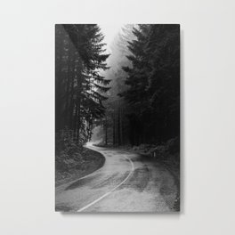 The Dark Path (Black and White) Metal Print