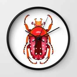 Orange and Red Beetle Wall Clock