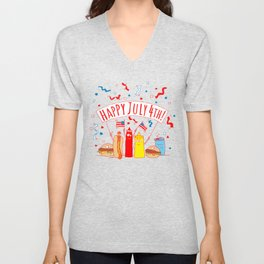 Happy July Fourth Picnic Unisex V-Neck