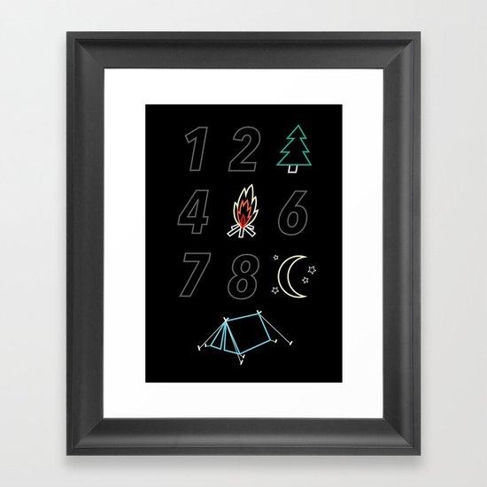 1 2 tree 4 fire 6 7 8 night tent Framed Art Print