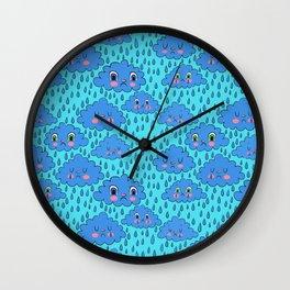 Sad Rain Clouds Wall Clock