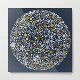 A Thousand Snowflakes in Twilight Blue Metal Print