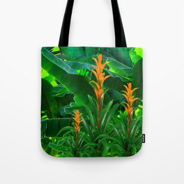 GREEN JUNGLE & TROPICAL CORAL BROMELIAD FLOWERS Tote Bag