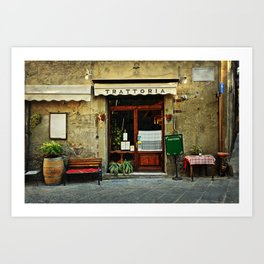 Entrance of old italian restaurant in Tuscany Art Print