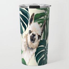 Sneaky Llama with Monstera Travel Mug