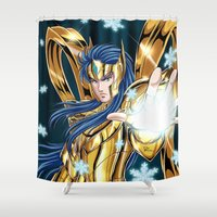 camus Shower Curtains featuring Aquarius Camus-God Cloth by Studio Kawaii