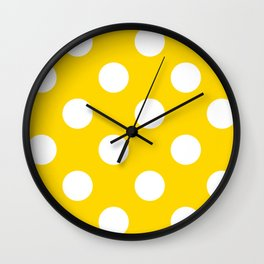 Large Polka Dots - White on Gold Yellow Wall Clock