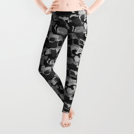 Grey Camouflage Cats Pattern | Gray Kitty Camo Leggings