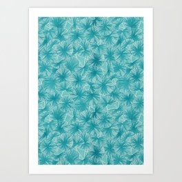 Circle of Leafs - Turquoise Art Print
