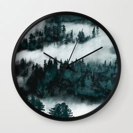Foggy Forest Fun - Turquoise Mountains Wall Clock