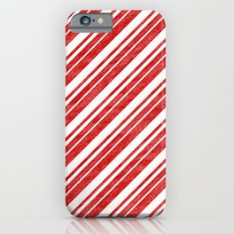 Velvety Red Candy Cane Diagonal Christmas Stripe iPhone Case