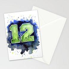 12th Man Seahawks Seattle Go Hawks Art Stationery Cards