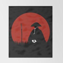 Meditating Samurai Warrior Throw Blanket
