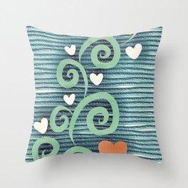 Heart Green Throw Pillow
