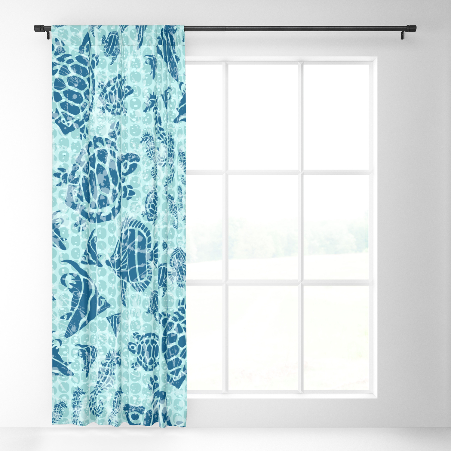 Sea Life Print With Fish Turtles And Seahorses In Ocean Blue Teal Blackout Curtain By 19monkeys Society6