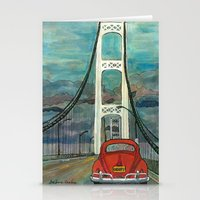 volkswagon Stationery Cards featuring VW Bug on Mackinac Bridge by Barb Laskey Studio