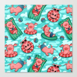 Summer Lovin' Pigs Canvas Print