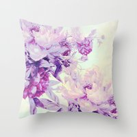 pastel Throw Pillows featuring pastel bouquet by clemm
