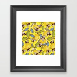 Yellow lemon and bee garden. Framed Art Print