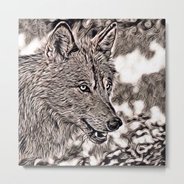 Rustic Style - Wolf 2 Metal Print