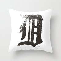 detroit Throw Pillows featuring Detroit by Landon Sheely