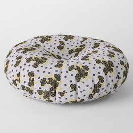 Wild Roses - Black and Lavender Floor Pillow
