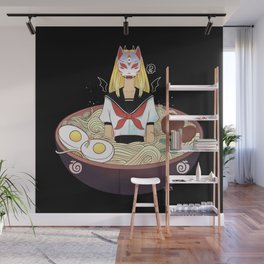 Anime School Girl Japanese Fox Kitsune Mask And Ramen Noodles Wall Mural