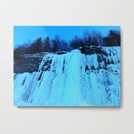Moonlit Ice Wall Metal Print
