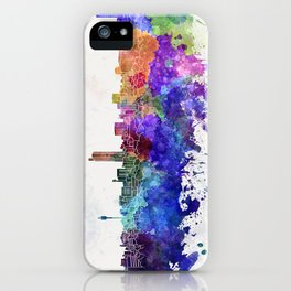 Hiroshima skyline in watercolor background iPhone Case