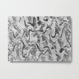 Monochrome Spiral Wavy Structure Metal Print