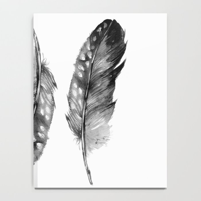 Three Feathers Black And White II Notebook