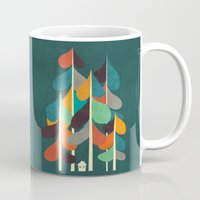 cabin Mugs featuring Cabin in the woods by Picomodi