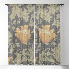 William Morris Yellow Flowers and Laurel Floral Textile Pattern Sheer Curtain