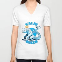 kaiju V-neck T-shirts featuring kaiju queen by Amanda Lien