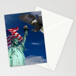 Bald Eagle a Lady Liberty Stationery Cards