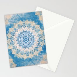 GOLD AND BLUE BOHOCHIC MANDALA Stationery Cards