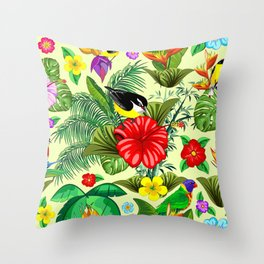 Birds and Nature Floral Exotic Seamless Pattern Throw Pillow
