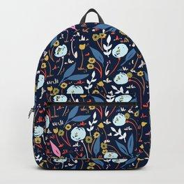 Ditsy Folk Dark Floral Pattern Backpack