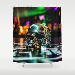 Rainbow Skull Ring Shower Curtain