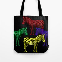 popart Tote Bags featuring Zebra PopArt by Monika Juengling