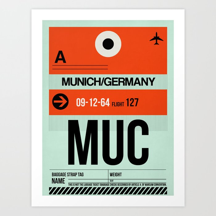 MUC Munich Luggage Tag 2 Kunstdrucke