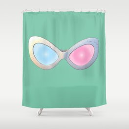 Blue and Pink Cat Eye Glasses Shower Curtain
