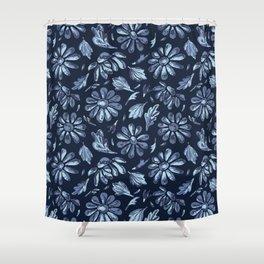 Title Indigo Blue Flower Daisy Hand Drawn Shower Curtain