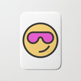 Smiley Face   Cool Sunglasses Happy Face   Cute Pink Glasses Bath Mat