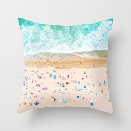 Drone shot of Manhattan beach Throw Pillow